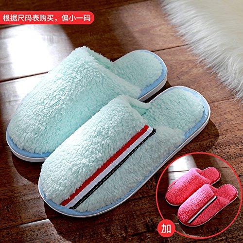 DogHaccd pantofole,Pantofole di cotone femmina inverno spessa coperta coppie maschio soggiorno anti-slittamento peluche caldo pantofole Il Blu + rosso3