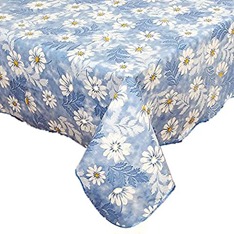 Fanjow® PVC Tablecloth Flannel Backed Plastic Tablecloth Floral Table Cloth Waterproof Oil-proof Dining Table Cover Washable Table Protector (152cm*152cm, Blue