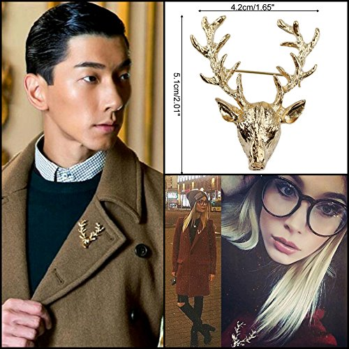3 FOR 2 Sale! Gold Stag Deer Brooch Pin for Jacket or Collar, Unique Gift Mens / Womans Unisex Broach Office Work Party Formal Business Brooches Luxury Lapel Wedding Holiday Collar Blouse Accessories Animal Fashion Antler Head Woodland Stag Doe Hunter Gol