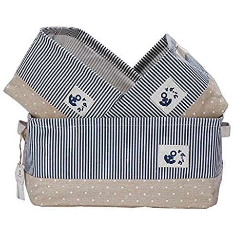 Sea Team Foldable Multi-sized Square New Stripe 100% Natural Linen & Cotton Fabric Storage Bins Storage Baskets Organizers - Set of 3 by Sea Team