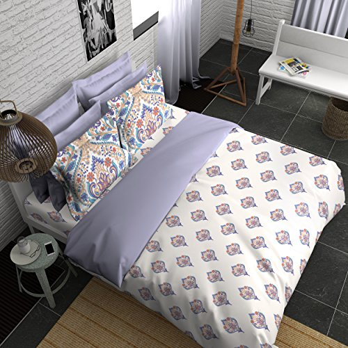 Boutique Living India 210Tc Blue,White King Size Cotton Printed with 2 Pillow Cover Bedsheet Set-(274cm x 274cm) Modern Classics - Buy Online Bedsheet