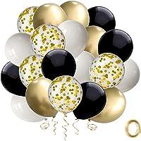 Ballon Noir Confettis Or, 50 pièces 12 pouces Ballons de Fête en Latex Blanc Ensemble Avec Ruban d'or pour les…