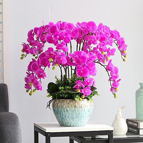 Jnseaol Kunstblumen Orchidee Diy Hotel Hochzeit Party Küche Home Eine Große Verzierung Keramiktopf Lila