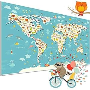 Weltkarte für Kinder mit Tieren – Kinderposter als Geschenkidee & Deko für Kinderzimmer – bunte Kinderweltkarte für Kleinkinder