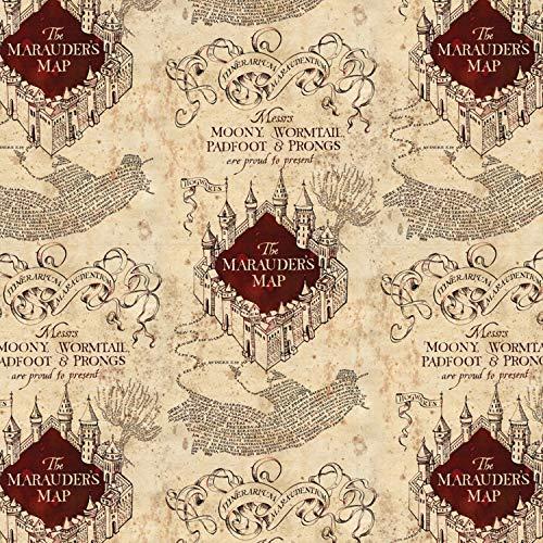 Unbekannt Camelot Harry Potter Jersey Stoff - Marauders Map - Jersey Stoff - Camjer 04-0,5 m - Stretch Jersey Strickstoff (Harry-potter-stoff)