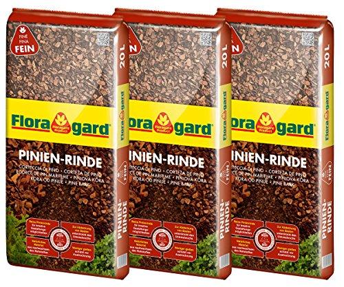 Floragard Mulch Pinienrinde 2-8 mm 3x20 L • superfein • dekorativer Bodenbelag • unterdrückt Unkrautwuchs • naturbelassen • für mediterranes Flair • 60 L • auch zur Kübel-Abdeckung