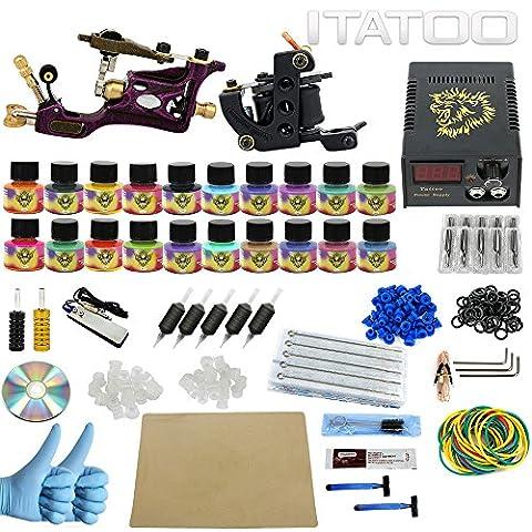ITATOO TATTOO® Kits de tatouage professionnels complets avec pro Tattoo Guns Machine de tatouage rotatif Aiguilles de tatouage mélangées et pigments d'encre pour tatouage de départ Tattoo Artist Tattoo (TK1000005)