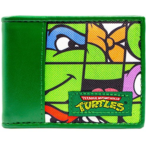 Nickelodeon Ninja Turtles Fliesen- Faces Grün Portemonnaie ()