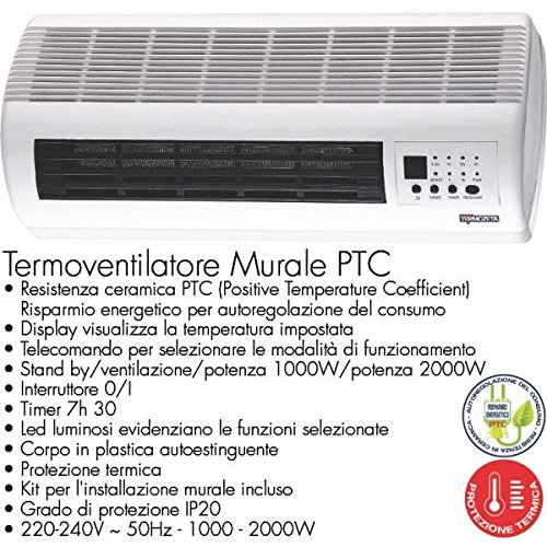 TERMOZETA - DATAMATIC Stufa termoventilatore da parete ceramico tzr06 termozeta