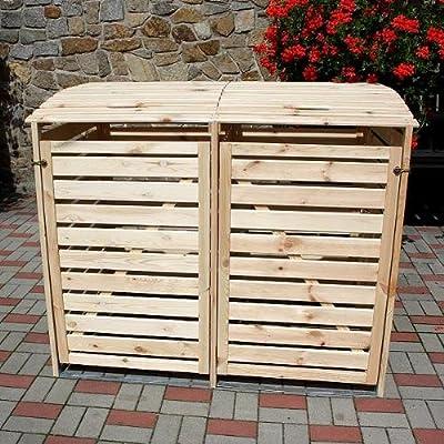 Mülltonnenbox VARIO II Müllbox Doppelbox für 2 Mülltonnen Kiefer NATUR von PRIKKER - Garten & Hobby auf Du und dein Garten