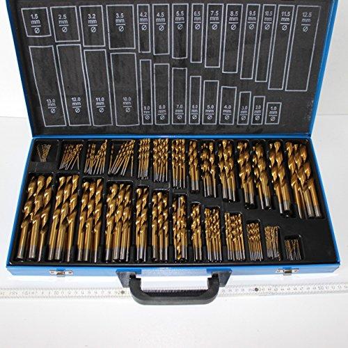 Preisvergleich Produktbild 230 Stück Bohrer Stahlbohrer HSS Titan beschichtet in guter Qualität, Durchmesser 1,0 bis 13 mm, um 0,5 mm steigend, im Stahlblech-Koffer
