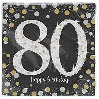 Amscan International 9901721 33 cm Gold Celebration 80th Luncheon Napkins