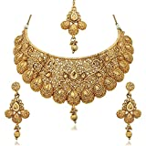 #9: Sukkhi Choker Jewellery Sets for Women (Golden) (N71789GLDPM1250)