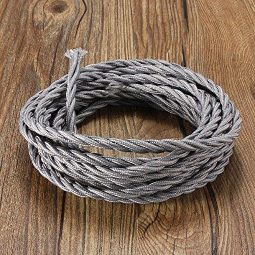 Elfeland ® Textilkabel für Lampe / Textilummanteltes Stoffkabel Stromkabel / 3x0,75mm² / 3-adrig gedreht verseilt einzeln umflochten / für DIY Lampezubehör / 5M grau (Einzelne Grau)