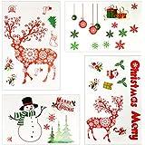 Adhesivos Navideños INKERSCOOP, 4 Piezas Etiqueta Estática de Adorno Navidad para Puertas y Ventanas, Vinilos para Decorar para Pared y Cristal, Pegatinas de Navidad para Navidad y El Año Nuevo