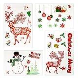 Natale Stickers, INKERSCOOP 4 pezzi Ornamento di Natale Etichetta Statica per Porte e finestre, Parete e Cristallo Decorazione Adesivi, Natale Adesivi per Natale e Capodanno