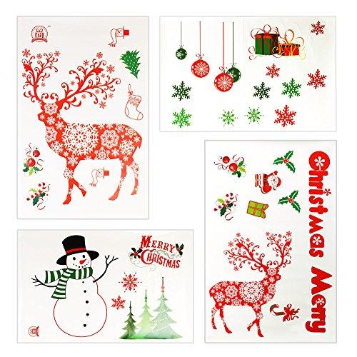 Weihnachtssticker, Weihnachten selbstklebende Fensterbilder, Fenstersticker Aufkleber, 4 Stück Weihnachtsdeko Fenster- & Tür Deko zum Weihnachten, Kinderzimmer Deko