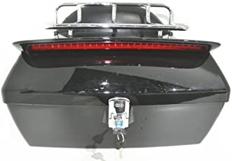 Ego Bike Black Motorcycle Trunk Tail Box Luggage Universal W/ Top Rack&Backrest&Taillight