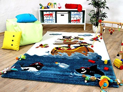 Maui Kids - Tapis pour enfant - motif bateau pirate bleu multicolore, Taille:120x170 cm