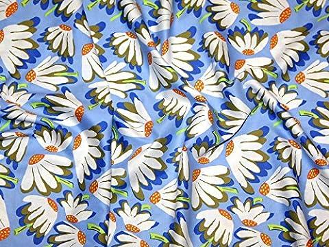 Rowan Brandon Mably (begriffsklärung) Fall 2014Lazy Daisy Popeline Quilting Stoff blau–Meterware + Frei Minerva Crafts Craft Guide