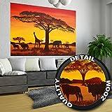 GREAT ART Sonnenuntergang in Afrika Wanddekoration - Wandbild Savanne Motiv XXL Poster (140 x 100 cm)