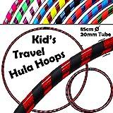 Inconnu Pro *Kids* Enfant Hula Hoops (Ultra-Grip/Glitter) - Fitness et Petit Adulte Voyage Pliable Hula Hoop Pondéré, pour Aerobic et Hoop Danse! (Diam: 85cm, Poids: 540g) - Noir/Rouge Glitter