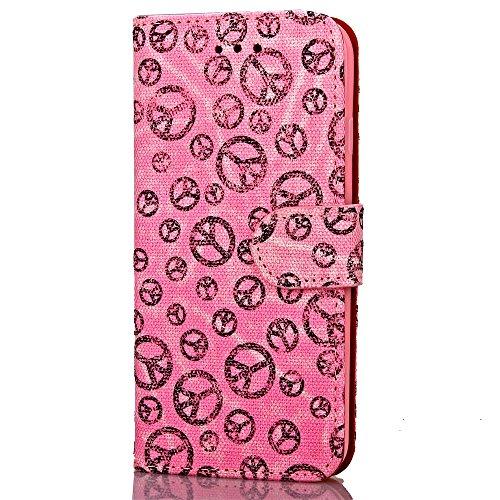 iPhone Case Cover Weiche TPU Abdeckung Farbdruck Malerei PU-Leder-Kasten-Mappen-Standplatz-Fall Multi-Mischfarben-Kasten für Apple IPhone 7 plus ( Color : Yellow , Size : IPhone 7 Plus ) Pink
