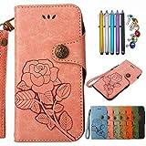 LEMORRY Nokia 5 Etui Cuir Portefeuille Cover Support visualisation vidéo Fente pour carte Soft interne TPU Silicone Bumper Protecteur Magnétique Pochette Cover Housse Coque pour Nokia 5, Rétro Rose (Pink)