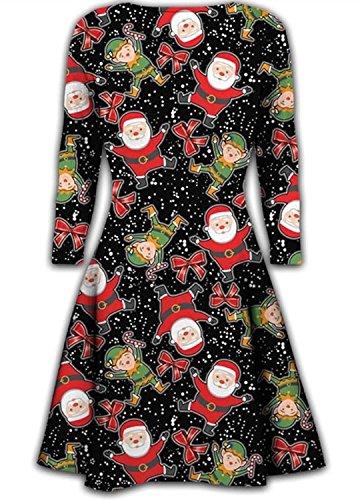 Frauen-Minikleider Weihnachtsbäume Weihnachten Sankt-Schneemann -Ren-Rudolph-Geschenk-Bell-Geschenk Damen Swing-Ober (XL 44-46, Santa & Elf)
