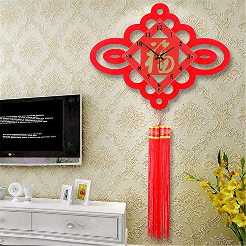GZABC Wanduhr Chinesische Knoten Uhren Kreative Silent Wall Chart Chinesischen Jahr Dekoration Quarzuhr 75 × 55 cm