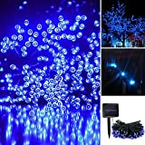 iRegro 100 LED al aire libre solar de cadena ligera impermeable accionada Hada de iluminación de Navidad Decoración de luces de neón Signos (azul)