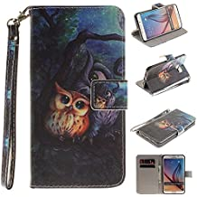 Samsung Galaxy S6 Edge Plus Funda Piel Billetera, Bonita Vistoso Acollador y Originales Pintura - Pintura al óleo Búho - Libro Estilo Samsung S6 Edge Plus Case Flexible Ligero PU