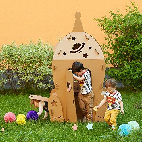 Karton Raumfähre. Kinder Raumschiff Spielhaus. Kartonspielhaus. Сreative Crafts Spielhaus für Kinder. Beste Spielzeug für Kinder. Eco Spielzeug