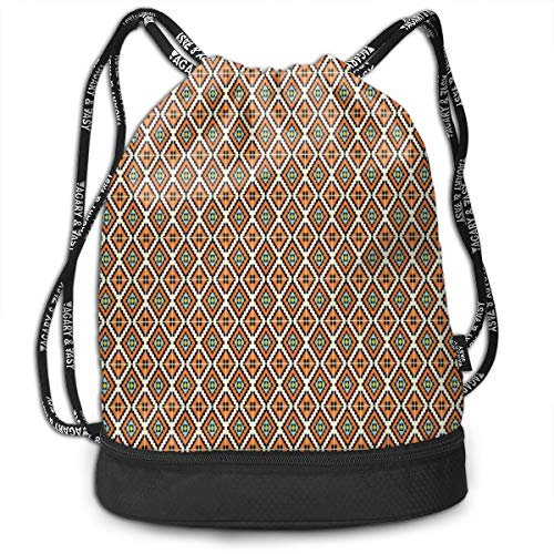tring Backpacks Bags,Tribal Ethnic Pattern with Squares Aztec Influences Ancient Vibrant,Adjustable String Closure ()