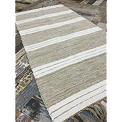 Alfombra a rayas triples de algodón natural y yute, color beis y blanco, 60cm x 90cm