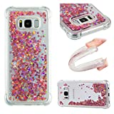 Mokyo Samsung Galaxy S8 Case,Bling Heart Stars Glitter Quicksand Floating Liquid Soft Cover Bumper Slim Fit Shockproof Anti Scratch Transparent TPU Gel Silicone Back Case Crystal Clear Shining Fashion Style for Samsung Galaxy S8 + Free Stylus Pen - Rose Gold