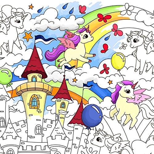 O-Kroshka Großes Riesiges Farbtonplakat Farbstoffe Für Kinder Unicorns. Ausmalbilder Für Kinder Und Ewachsene. Farbe Ich Pakate Für Familie (59 х 84 cm)