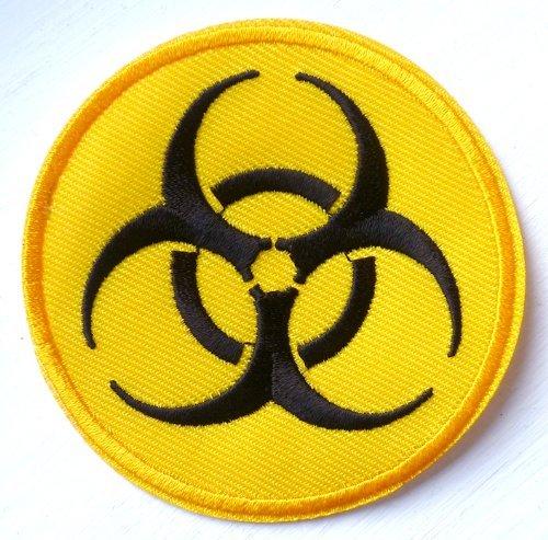 Toppa ricamata da applicare con ferro da stiro, simbolo: rischio biologico rifiuti sanitari