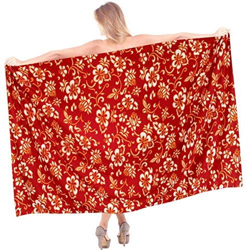 La-Leela-ropa-de-playa-envoltura-hawaiano-traje-de-bao-traje-de-bao-de-las-mujeres-cubre-para-arriba-sarong-pareo-rojo
