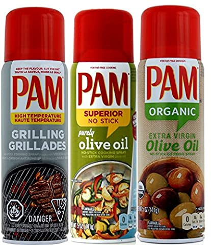 3 x PAM® USA (3-Pack) - PAM Grilling, PAM Olive Oil, PAM Organic Olive Oil (3 x 141g)