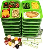 14-Pack 3 Compartment Meal Prep Containers with Lids & 30ml Leak Proof Sauce Cups. Microwave & Dishwasher Safe, BPA Free, Reusable, Stackable, Portion Control Bento Lunch Box Food Containers (Alive Green)