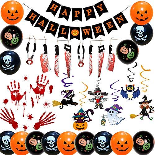 Jolily Halloween Decorazioni per Le Feste, Ghirlanda Tortura, Happy Halloween Bandiera, Turbinii di Fantasma di Zucca, Adesivo per finestre, 15 Palloncini per Case infestate