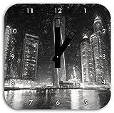 Dubai Burj al Arab Kohle Effekt, Wanduhr Quadratisch Durchmesser 28cm mit schwarzen eckigen Zeigern und Ziffernblatt, Dekoartikel, Designuhr, Aluverbund sehr schön für Wohnzimmer, Kinderzimmer, Arbeitszimmer