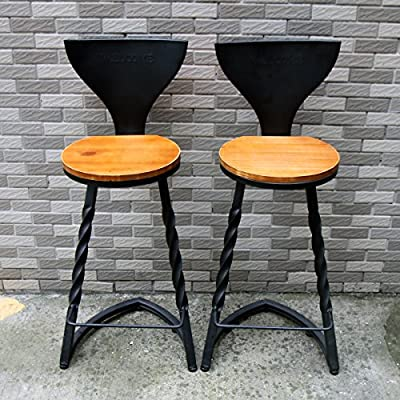 2 X SUNDELY® Retro Vintage Nordic Style Wooden & Metal Bar Stool High Chair Barstool for Office Kitchen Restaurant Bar Pub Party produced by SUNDELY - quick delivery from UK.