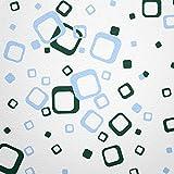 WANDfee® 60 Carrés de Couleur Vert foncé, Bleu Pastel Bicolore, décoration Murale Moderne autocollante Retro Cubes carrés Autocollants