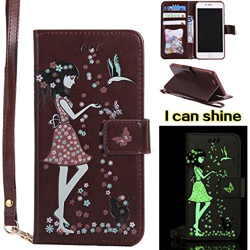 Qiaogle Telefon Case - PU Leder Wallet Schutzhülle Case für Apple iPhone 6 / iPhone 6S (4.7 Zoll) - KT30 Grün / Mädchen + Vogel + Katze KT24 Braun / Mädchen + Vogel + Katze