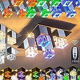 Eckige Deckenleuchte mit RGB-LED Farbwechsler aus Metall Chrom für Wohnzimmer – Schlafzimmer – Flur – mit der Fernbedienung ist eine gezielte Farbauswahl der farbigen LEDs möglich