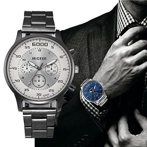 Reloj de pulsera casual para hombres,KanLin1986 Reloj de pulsera analógico de cuarzo Relojes deportivos en acero inoxidable para hombres