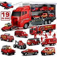 LYKJ-karber Die-cast Fire Engine Vehicle Mini Rescue Emergency Fire Truck Toy Set in Carrier Truck