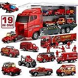 LYKJ-karber Camion dei Pompieri, 19 in 1 Set di Giocattoli per Vigili del Fuoco Modelli di Veicoli in Plastica e Lega Pressofusa Ideale Regalo Natale Compleanno per Bambini Ragazzi Ragazze 3 Anni